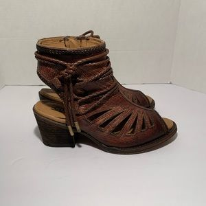 Corral Brown Leather Peep Toe Ankle Booties